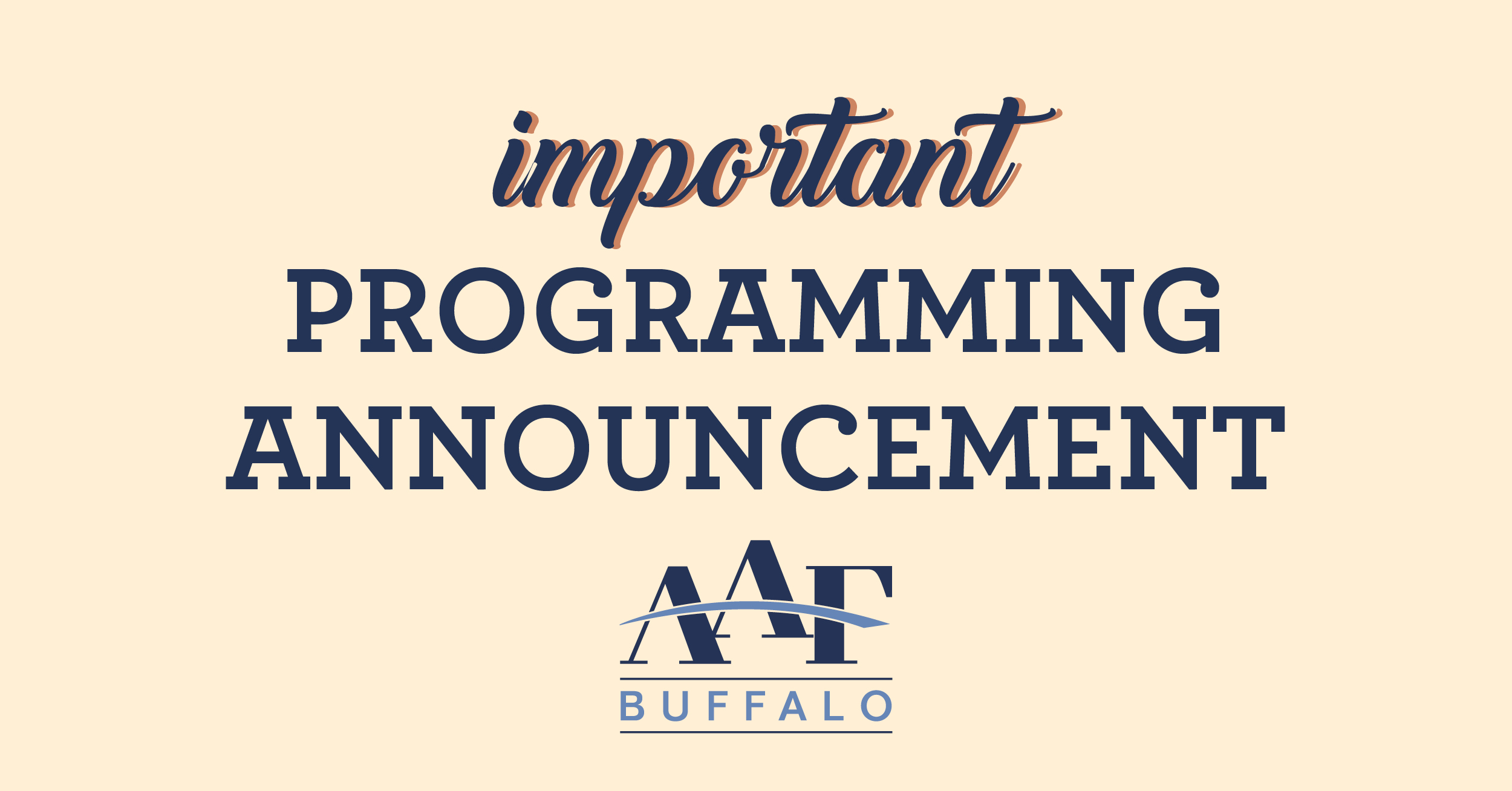 Important Programming Announcement